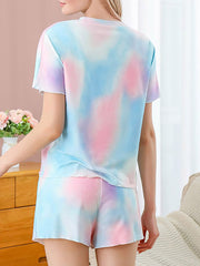 Color=Multicolor | Gorgeous Tie-Dye Pajama Sets With Shorts For Women-Multicolor 2