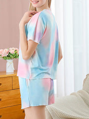 Color=Multicolor | Gorgeous Tie-Dye Pajama Sets With Shorts For Women-Multicolor 3