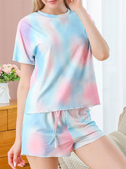 Color=Multicolor | Gorgeous Tie-Dye Pajama Sets With Shorts For Women-Multicolor 1