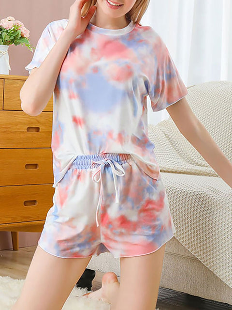 Color=Orange | Gorgeous Tie-Dye Pajama Sets With Shorts For Women-Orange 3