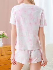 Color=Pink | Gorgeous Tie-Dye Pajama Sets With Shorts For Women-Pink 2