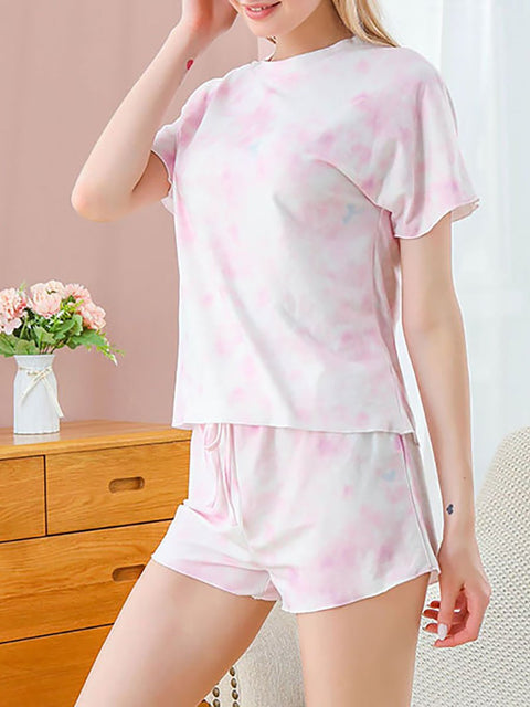Color=Pink | Gorgeous Tie-Dye Pajama Sets With Shorts For Women-Pink 3