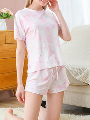 Color=Pink | Gorgeous Tie-Dye Pajama Sets With Shorts For Women-Pink 4