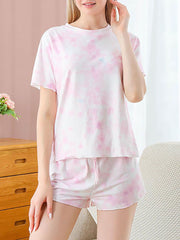 Color=Pink | Gorgeous Tie-Dye Pajama Sets With Shorts For Women-Pink 1