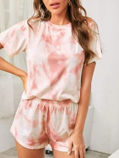 Color=Pink | Fashion Tie-Dye Pajama Sets For Women With Shorts-Pink 1