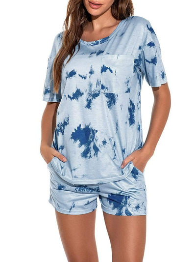 Color=Sky Blue | Women'S Causal Tie-Dye T-Shirts & Shorts Pajamas-Sky Blue 1