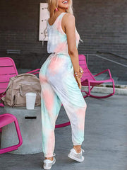 Color=Blush | Sexy Tie-Dye Long Jumpsuits With Pocket For Women-Blush 2