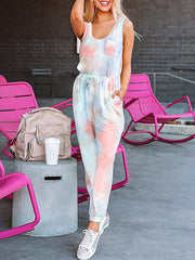 Color=Blush | Sexy Tie-Dye Long Jumpsuits With Pocket For Women-Blush 1