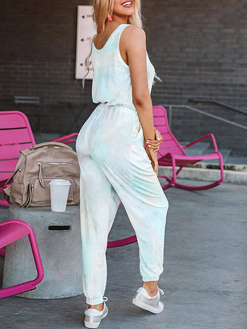 Color=Sky Blue | Sexy Tie-Dye Long Jumpsuits With Pocket For Women-Sky Blue 2