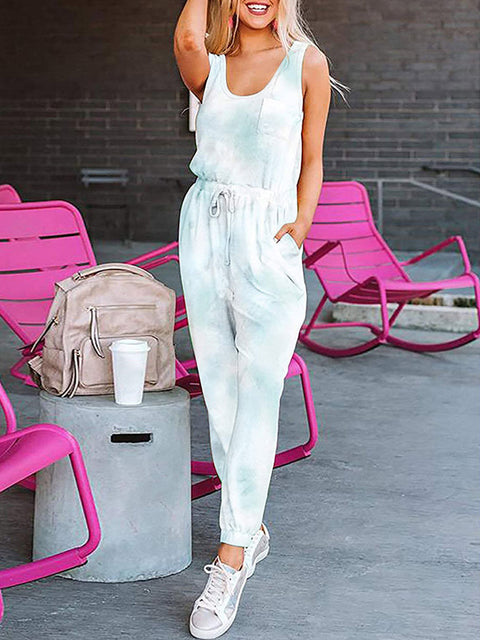 Color=Sky Blue | Sexy Tie-Dye Long Jumpsuits With Pocket For Women-Sky Blue 1