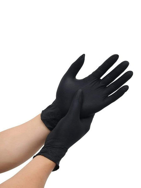 Color=Black | Anti Puncture Powder Free Disposable Latex Protective Gloves-Black 2