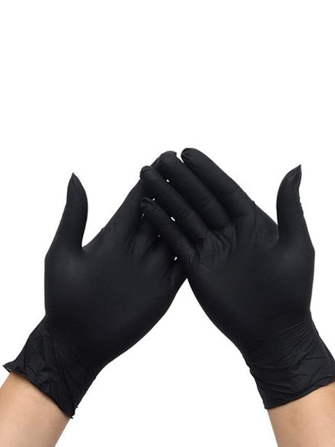 Color=Black | Anti Puncture Powder Free Disposable Latex Protective Gloves-Black 1