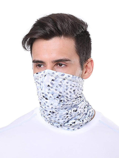 Color=White & Black | Comfort Adult Protective Neck Gaiter Running Face Shield For Going Out-White & Black 1