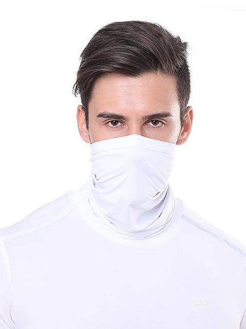 Color=White | Comfort Adult Protective Neck Gaiter Running Face Shield For Going Out-White 1