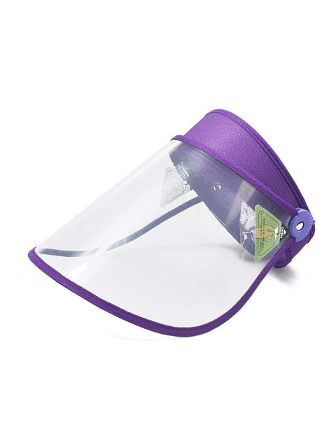 Color=Purple | Transparent Isolation Anti-Pollution Protective Face-Shield Hat-Purple 1
