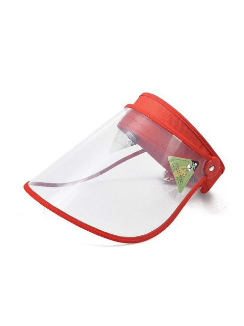 Color=Red | Transparent Isolation Anti-Pollution Protective Face-Shield Hat-Red 1