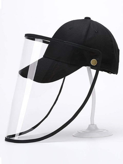 Color=Black | Simple Outdoor Detachable Visor Adjustable Protective Baseball Hat-Black 1