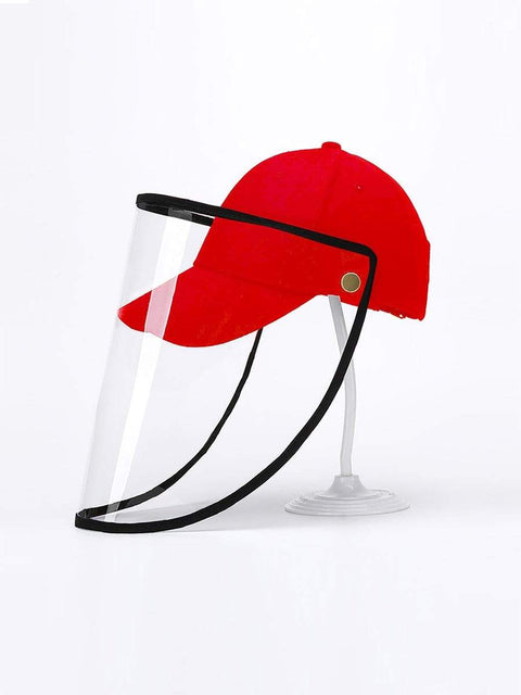 Color=Red | Simple Outdoor Detachable Visor Adjustable Protective Baseball Hat-Red 1