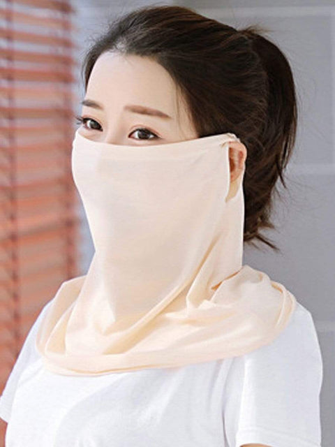 Color=Beige | Women'S Uv Protection Ice Silk Breathable Elastic Neck Gaiter-Beige 1