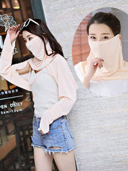 Color=Beige | Women'S Uv Protection Ice Silk Breathable Elastic Neck Gaiter-Beige 3