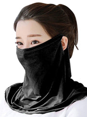 Color=Black | Women'S Uv Protection Ice Silk Breathable Elastic Neck Gaiter-Black 1