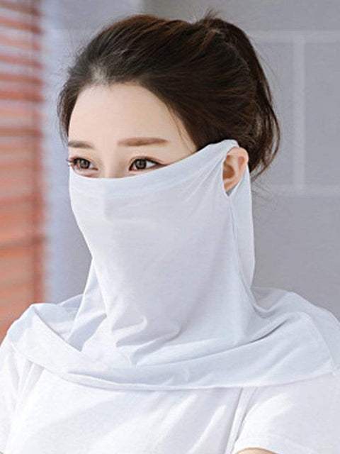Color=Grey | Women'S Uv Protection Ice Silk Breathable Elastic Neck Gaiter-Grey 1