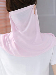 Color=Pink | Women'S Uv Protection Ice Silk Breathable Elastic Neck Gaiter-Pink 2