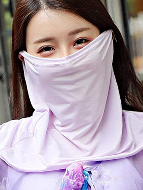 Color=Lavender | Women'S Uv Protection Ice Silk Breathable Elastic Neck Gaiter-Lavender 1