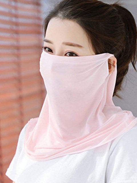 Color=Pink | Women'S Uv Protection Ice Silk Breathable Elastic Neck Gaiter-Pink 1