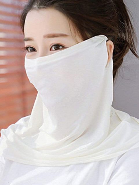Color=Gream | Women'S Uv Protection Ice Silk Breathable Elastic Neck Gaiter-Gream 1
