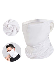 Color=White | Hanging Ears Multifunction Breathable Elastic Neck Gaiter-White 1