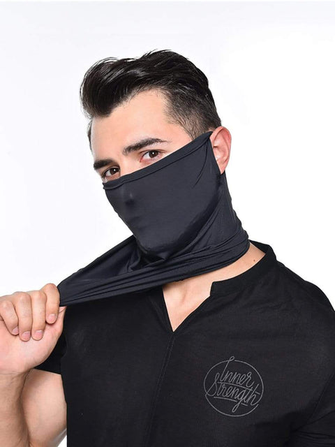 Color=Black | Men'S Hanging Ears Ice Silk Protective Neck Gaiter For Motorcycle-Black 1