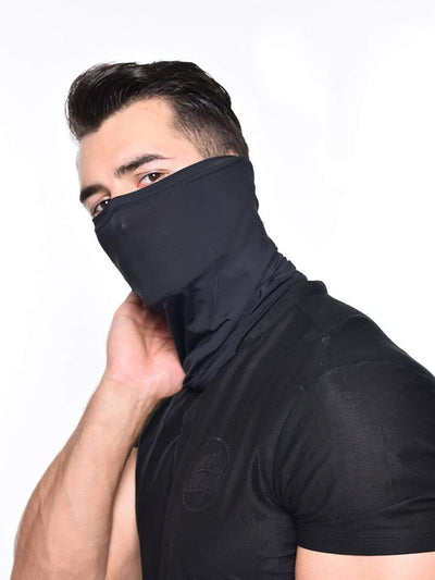 Color=Black | Men'S Solid Color Breathable Protective Neck Gaiter Scarf-Black 1