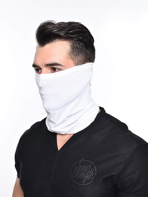 Color=White | Men'S Solid Color Breathable Protective Neck Gaiter Scarf-White 1
