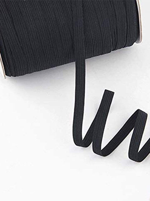 Color=Black | Elastic Bands Diy Cloth For Knit Sewing Braided Cord-Black 2