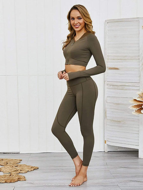 Color=Green | Classic Long Sleeve And Leggings Yoga Suit For Women-Green 4
