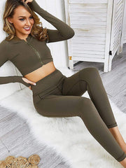 Color=Green | Classic Long Sleeve And Leggings Yoga Suit For Women-Green 1