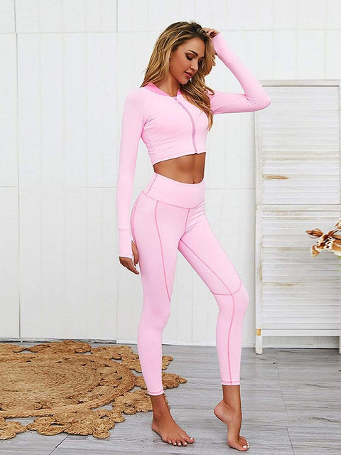 Color=Pink | Classic Long Sleeve And Leggings Yoga Suit For Women-Pink 4