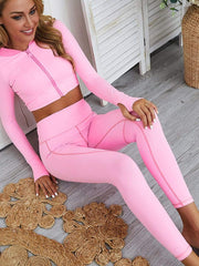 Color=Pink | Classic Long Sleeve And Leggings Yoga Suit For Women-Pink 1