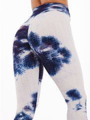 Color=Navy Blue | Fashion High Waist Tie-Dye Yoga Leggings For Women-Navy Blue 2