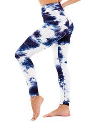 Color=Navy Blue | Fashion High Waist Tie-Dye Yoga Leggings For Women-Navy Blue 3