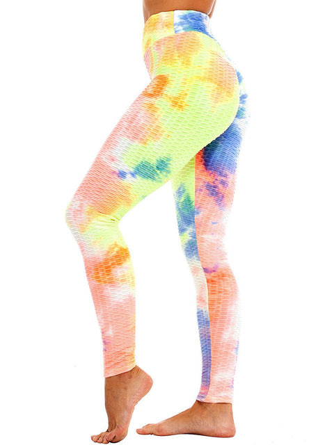 Color=Orange | Fashion High Waist Tie-Dye Yoga Leggings For Women-Orange 2