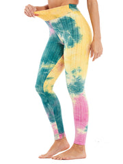 Color=Purple | Fashion High Waist Tie-Dye Yoga Leggings For Women-Purple 1