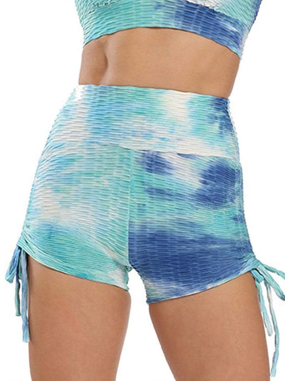 Color=Sky Blue | Sexy High Waist Tie-Dye Shorts For Yoga Workout-Sky Blue 1