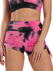 Color=Hot Pink | Sexy High Waist Tie-Dye Shorts For Yoga Workout-Hot Pink 1