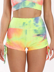 Color=Orange | Sexy High Waist Tie-Dye Shorts For Yoga Workout-Orange 1