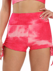 Color=Pink | Sexy High Waist Tie-Dye Shorts For Yoga Workout-Pink 1