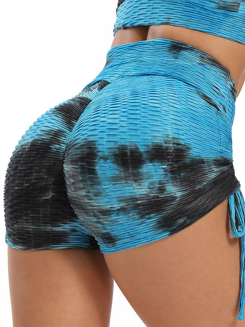 Color=Sapphire Blue | Sexy High Waist Tie-Dye Shorts For Yoga Workout-Sapphire Blue 2