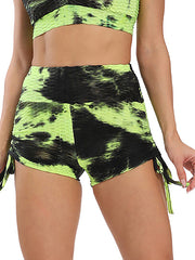 Color=Yellow | Sexy High Waist Tie-Dye Shorts For Yoga Workout-Yellow 2