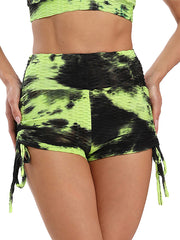 Color=Yellow | Sexy High Waist Tie-Dye Shorts For Yoga Workout-Yellow 3